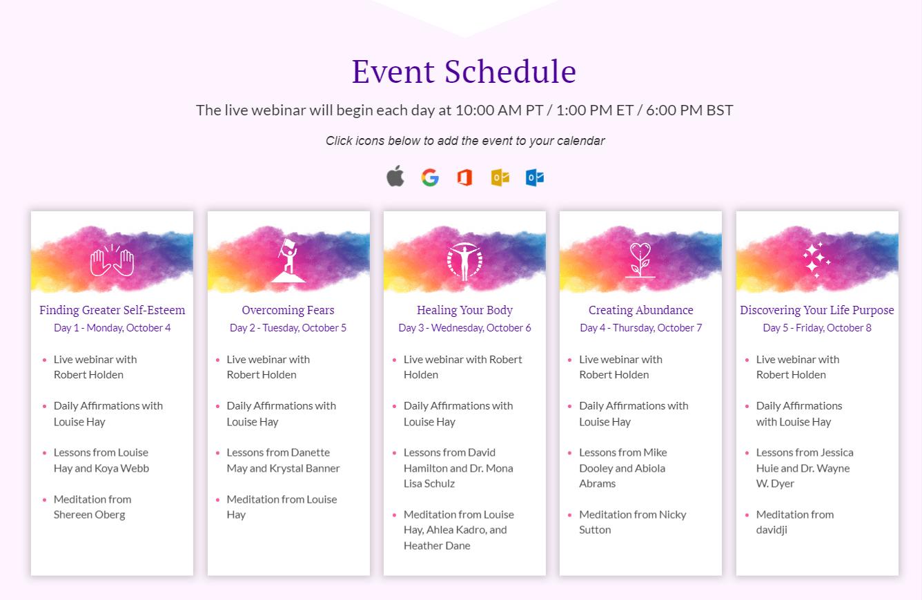 Event schedule-free challenge