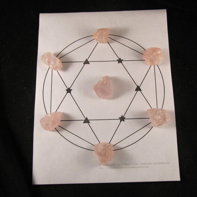 basic rose quartz crystal grid