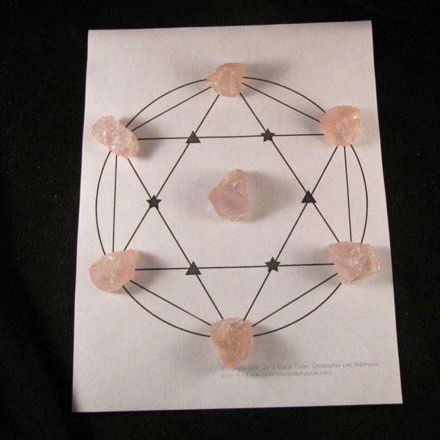 basic rose quartz crystal grid